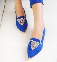 2014 flats Restore ancient ways van female shoes diamond metal pointed flat single shoes