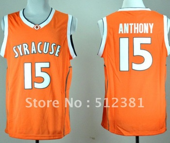 Free Shipping!!! #15 Camerlo Anthony Syracuse Orange Orange Basketball Throwback Jersey