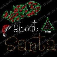 Free Shipping 30pcs/Lot  Hot Fix Rhinestone Christmas Iron On Transfer Design Wild About Santa with Christmas Hat & Xmas Tree