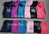 2014 autumn parent-child children's wear velvet Children Hoodies+Pants women's and children style,6 color 8036