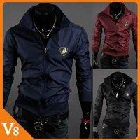 V8 / Free Shipping! / 2013 Men standing collar short jacket windproof jacket / slim men coat jacket/ V-7016