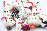 10lotX Handmade Canvas doll Keychain Mobile Cell Phone Charm Strap Pendant #9552