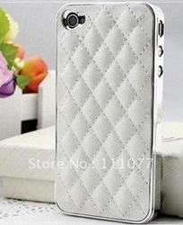 New Deluxe Leather Chrome Back Case Cover Skin for Apple iPhone 4 4G AT&T White(China (Mainland))