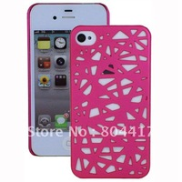 Free Shipping!  Wholesale New Bird Nest Hard Protector Back Case Cover Skin for Apple iPhone 4S 4 - Hot Pink