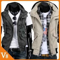 V8 / Free Shipping! / 2013 New Unique heap collar Slim cotton men's casual sleeveless jacket / V-7019