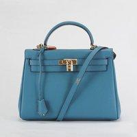 Top quality new luxury 35cm genuine calf leather blue women ambre tote handbag shoulder bag fashion gift free shipping wholesale