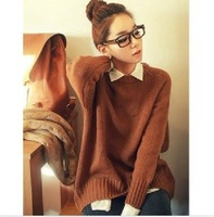 Free Shipping 2012 New Fall Winter QNG/Qnigirls Stylish Causal Ladies Sweater Plus Size Sweaters(Red+Brown+Average)120905#8