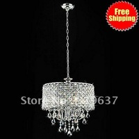 Free Shipping Modern 4 - Light Pendant Lights with Crystal Drops in Round