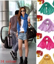 Free shipping solid color pleated ultralarge ultra long scarf Min order is 10 mix order