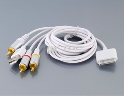 Free shipping high quality 1.4 m USB port AV Cable for iPhone, iPod &amp; iPad (White)(China (Mainland))