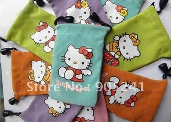 New 100 PCS Hello Kitty Pouch Case Bags for Mobile Phone MP3 MP4 cell phone stretch knits Christmas gift Birthday gift 100pcs