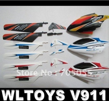 Free shipping 5 Lot Canopy Tail Main Blade Spare Parts for WLtoys V911 4CH  RC Helicopter 15pcs/lot