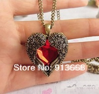 fashion vintage ruby red heart necklace royal carved necklace YWJR130