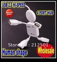 Free shipping 20pcs Mini 4 Port USB 2.0 High Speed Cable 480Mbps Little Human Shape robot HUB USB