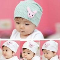 best sell Double layer 100% cotton warm rabbit baby hat autumn and winter children pocket hat