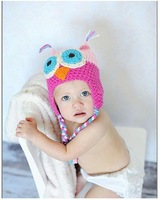 2012 Hot lovely sell Parrot owl style handmade pocket hat baby child knitted hat