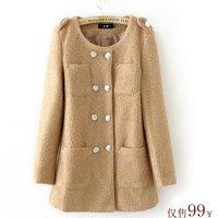 new autumn double breasted wool coat ol woolen outerwear hot-selling women's trench Wool Blends Coat winter coat