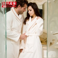 Lovers robe globalsources at home white bathrobe coral fleece autumn and winter sleepwear thickening long lounge