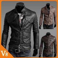 Free Shipping  leather jacket Men locomotive Slim Male  jacket coat male PU leather jacket men for Wholesale sales / V-8680