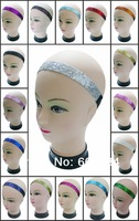 Fedex Free Shipping-Silver 600pcs/lot Assorted Solid Colors Volleyball Sports Glitter Headbands