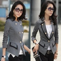 2013 NEW Autumn Elegant Crown button long sleeve women jacket coat with black/gray color free shipping S/M/L/XL