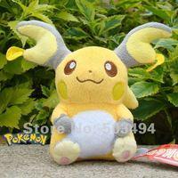 """free shipping 1pc Q edition Raichu plush high quality Pokemon toy Pikachu soft plush doll 15cm 6"""""""