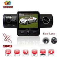 5.0 Mega 1080P Full HD DVR  camera with Dual Lens + G-Sensor  + IR Light  car black box  Free shipping x6000