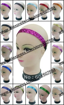 "Free Shipping 264pcs/lot Fuchsia Assorted Solid Colors 3/4""  Softball Glitter Headbands"