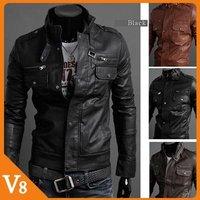 Free Shipping Black,brown PU leather jacket Men multi-zipper mandarin collar leather jacket men Slim leather for Wholesale sales