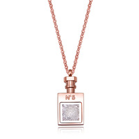 Wholesale perfume bottle necklace 18k rose gold necklace short design chain gold plated necklace, 18K jewelry FN142