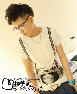 2013 Korean DIY tees t shirts for men polo t shirts Suspenders camera tee high quality lycra cotton short-sleeve 2(China (Mainland))
