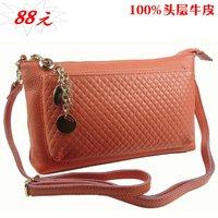 First layer of cowhide 2012 genuine leather women's handbag women's day clutch messenger bag shoulder bag Women clutch bag bt