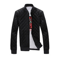 Casual men's stand collar leather clothing male slim outerwear male motorcycle leather clothing leather jacket male