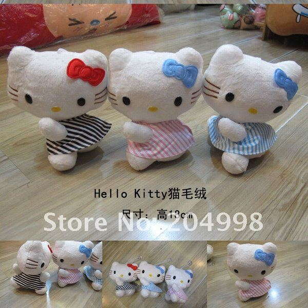 Free shipping Cute Hello Kitty 7 &quot; Hight Quality Plush Stuffed Toy (3pcs/set )(China (Mainland))