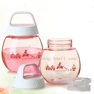 360ml plastic straw water bottle,PC water bottle,round.for sports,kids bottles,Cute Shape.(China (Mainland))