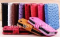 Hot selling Free shipping&amp;10pcs/Lot New Ostrich pattern Leather Color Wallet Book Case  Pouch for iPhone 4 4S  Best Quality