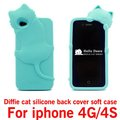 new arrival 3D Diffie Cat Silicone soft Case Cover For iphone 4G 4S ,free shipping