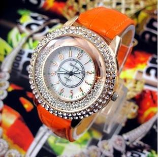 6pcs hourglass go super flash rhinestone beads watches round dial table(China (Mainland))