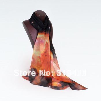 Free Shipping 2012 New Korea Long Silk Scarf, Cute Cat Scarf Shawl, Autumn Winter Chiffon Scarves for Women