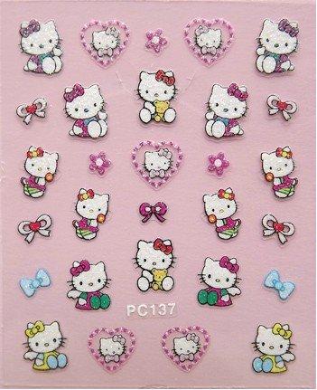 Hot Sale! 20PCS/LOT PC137 Nail Art 3D Nail Sticker Hello Kitty Sticker(China (Mainland))