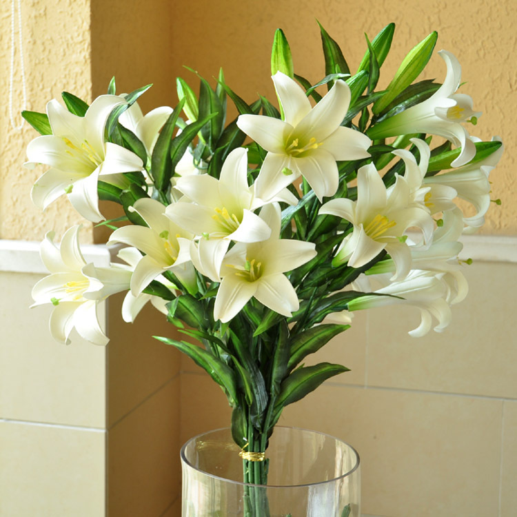 Free Shipping 6 Pieces Lot Fresh White Lily Artificial Flowers Real Touch Eva Pu Leather Flowers Home Decor Party Wedding