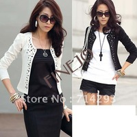 Free/Drop shipping promotion fashion Long Sleeve lady jacket,2 colors(black,white) 2size M,L high quality jacket suits Coat 7164