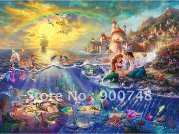 Free shipping The Little Mermaid Thomas kinkade Art print decorative furniture office decorhome decor stores 0323