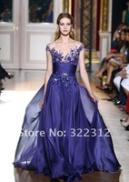 2013 Zuhair Murad Couture Design Blue Chiffon Beautiful Beads Elegant Floor Length Fashion Modest Prom Ball Dress Evening Gown