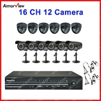 16CH DVR System H.264 DVR Home Security 16 CH Channel DVR Kit 12 Camera SHARP CCD 420TVL Camera CCTV System