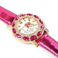 Free Shipping Leather Band Hello Kitty Wrist Watch Children Fashion Crystal Quartz Watch NC9231