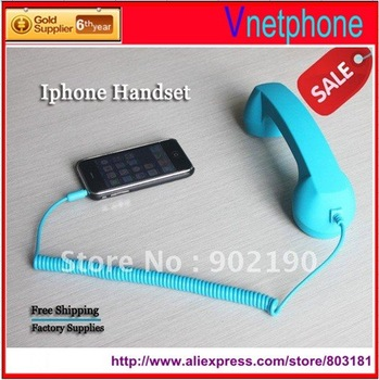 50pcs/lot 2013 lastest Telephone Headsets for iphone 4s,Stylish retro mobile phone handset for iphone 4,Free Shipping by EMS/DHL