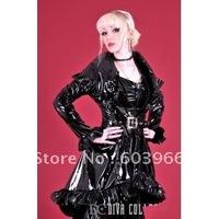 free shipping Sexy Black Gothic Punk Vinyl PU Wetlook Dark Queen Costume Dress Clubwear