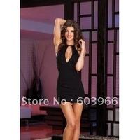 free shipping Sexy Black Halterneck Dress Clubwear Zipper Back