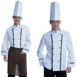 Free shipping (10pcs/lot) Brand New Classical Long Sleeves Chef Coat With Ranges of Pants + Aprons + Hat by Courier Service(China (Mainland))